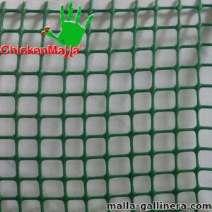 Muestra de malla plástica color verde